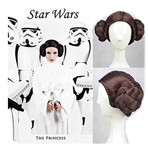 Women Cosplay Wig Brown Hair with Buns for Star Wars Princess Leia Costume (Star Wars Slave Leia Costume)