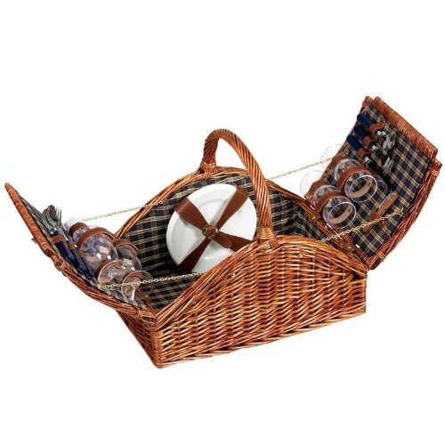 Lined Picnic Basket (Household Essentials Woven Willow Picnic Basket, Square Shaped, Fully Lined, Service for 4)