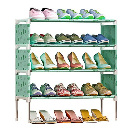 FKUO 4-Tier Shoe Rack Organizer Storage Bench - Holds 12 Pairs - Organize Your Closet Cabinet or Entryway - Easy to Assemble - No Tools Required (Green lemon)