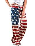 Aifer Women's Pajama Comfy Chic Floral Print Lounge Drawstring Palazzo Long Wide Leg Pants