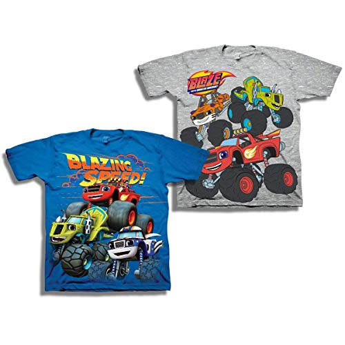 Blaze and The Monster Machines Shirt - 2 Pack of Blaze & The Monster Machines T-Shirts (Blue/Grey, 5T) -
