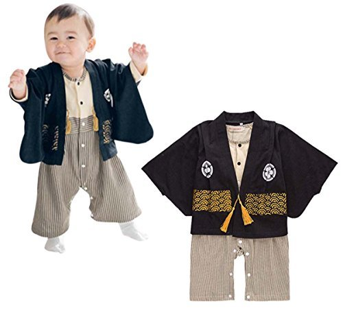 Boys Samurai Costume (FANCYKIDS Baby Infant Toddler Boys Japanese Kimono Samurai Costume Outfit (6 to 12 Months,)