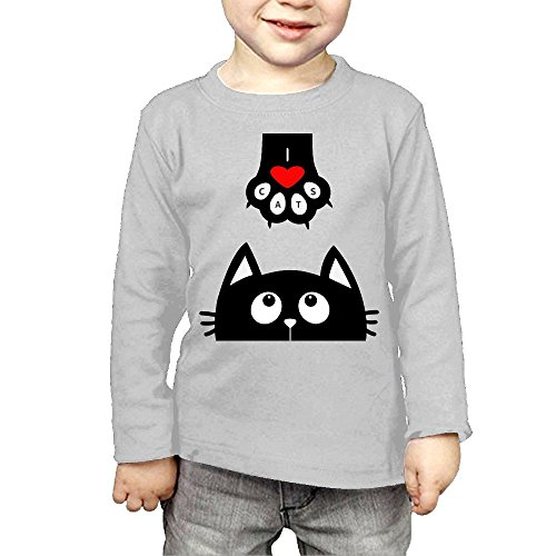 Price comparison product image Arromper Love Cute Cat Girls&Boys Long Sleeve T-Shirts 3 Toddler Gray