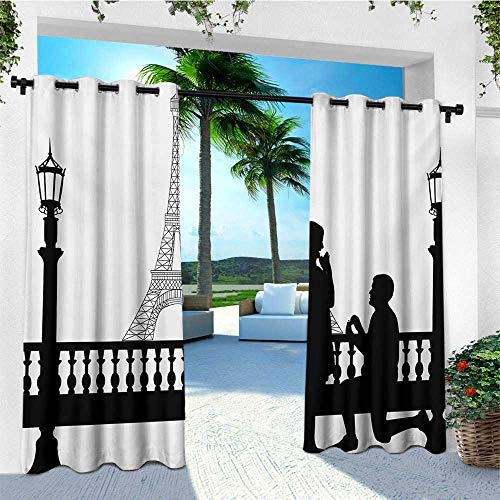 leinuoyi Engagement Party, Outdoor Curtain of Lights, Paris Love Valentines City Wedding Proposal Future Happiness Image, Fabric W84 x L96 Inch Black and White