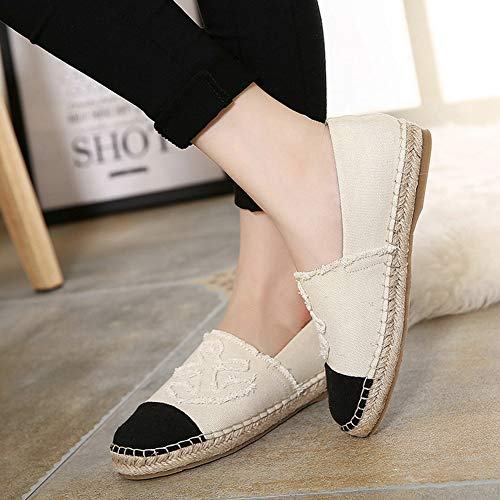 Womens's Loafers White On Shoes Flats Comfortable Flat T Round Casual Toe JULY Slip Ladies Shoes Espadrilles Canvas 51WPTq