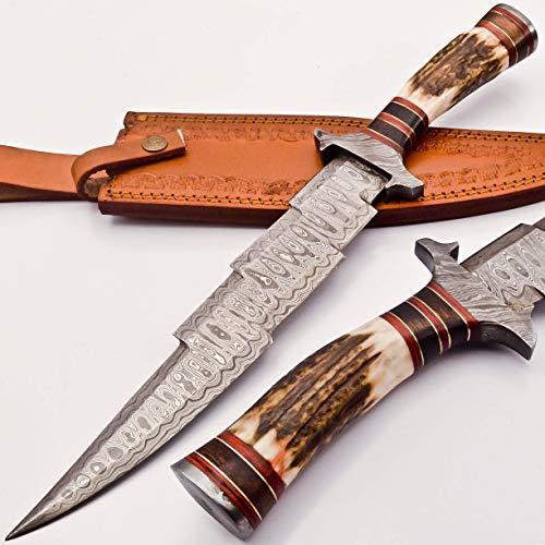 Stag Dagger - knifehills Rare Custom Blood GROOVED Custom Damascus Fighter Kris Dagger Bowie Knife | STAG Antler Handle (KM-7003)