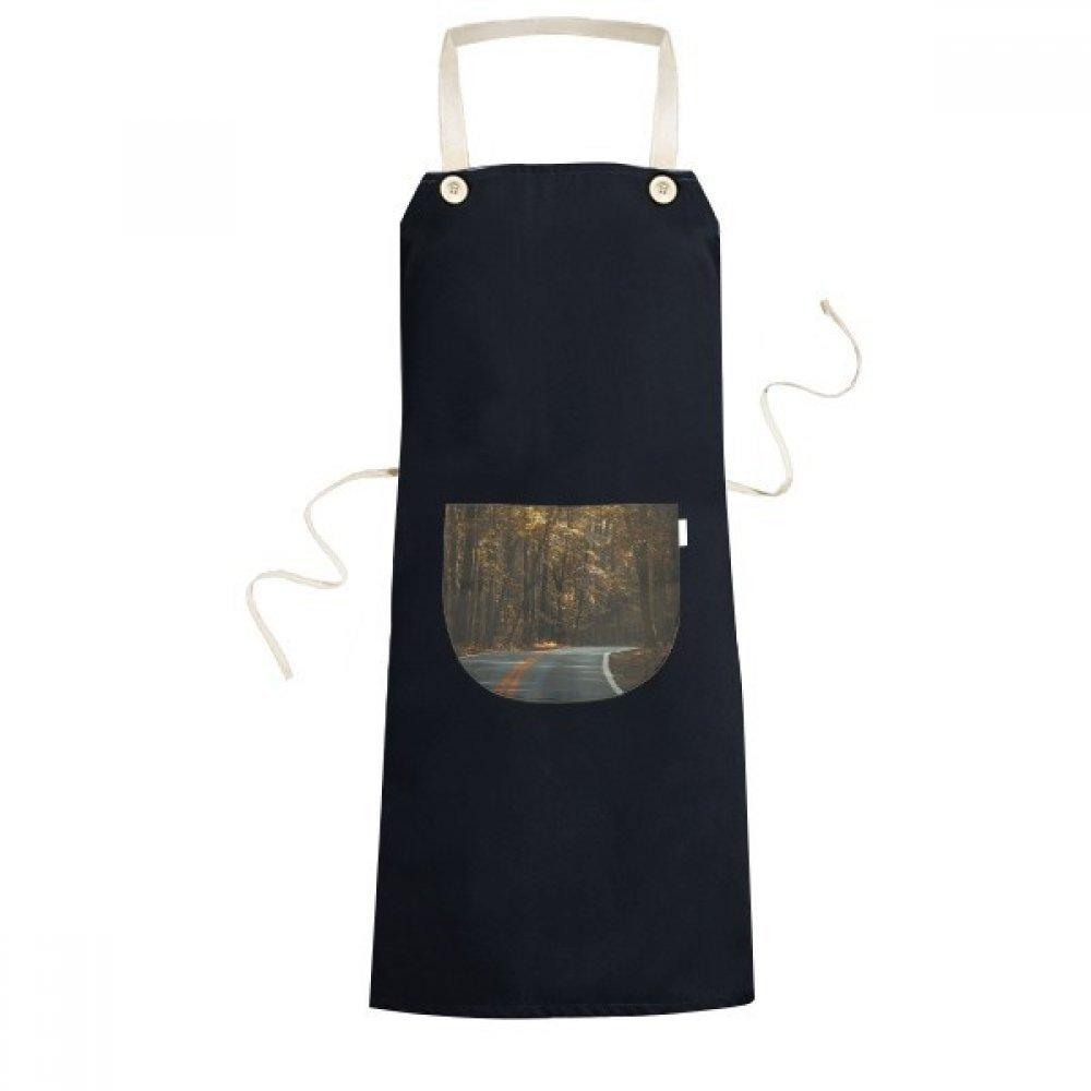DIYthinker Road Grass Forest Autumn Travel Dark Cooking Kitchen Black Bib Aprons With Pocket for Women Men Chef Gifts