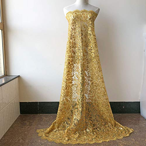 (Luxury Gold Sequined Lace Fabric Beaded Eyelash Lace Mesh Emboridery Flower Lace for Bridal Dress Veil Maxi Tutu Skirt 47 inches Width 1)