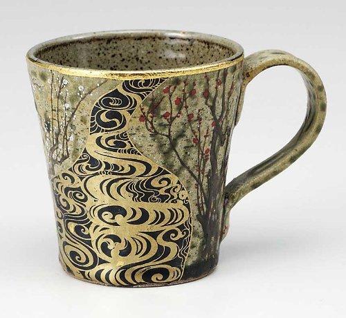 KUTANI YAKI(ware) Coffee Mug Gold Plum