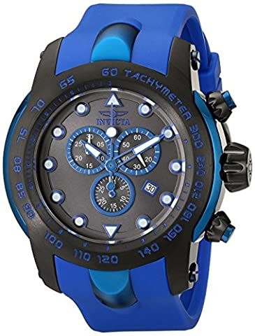 Invicta Men's 18028SYB Pro Diver Black Stainless Steel Watch with Blue Silicone Band - Chronograph Synthetic Sapphire