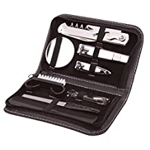 9 Piece Mens Travel Set Complete Grooming Set Nail Clippers Brush Comb Nail File Stainless Steel Kit - Includes Travel Case