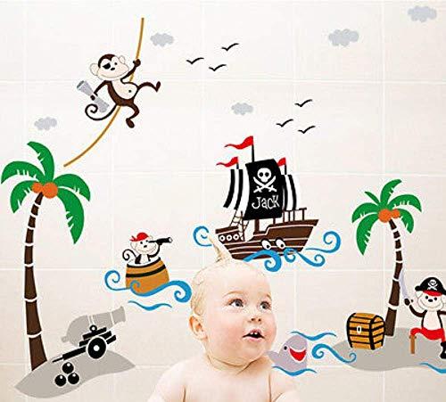 3D Wall Sticker Art Sticker Applique Mural Monkey and Pirate Ship C Art Book Un Wall Sticker Mural Vinyl Art Book Decal Baby Kindergarten Decal]()