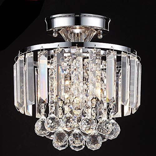 MonDaufie Crystal Chandelier Semi Flush Mount Ceiling Light D10 Ceiling Lighting Fixture Chrome Finish