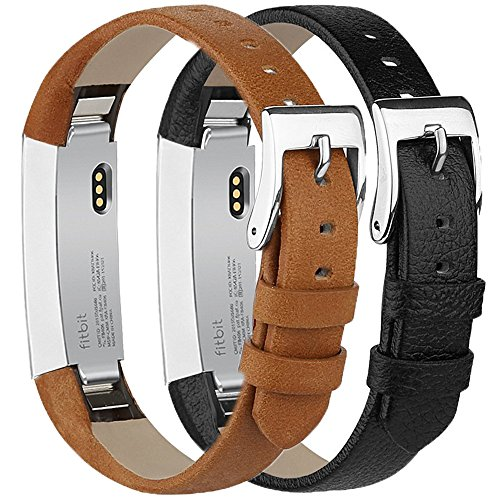 Tobfit Compatible with Fitbit Alta HR Bands/Fitbit Alta Leather Bands (2 Pack), Genuine Leather Replacement Bands Stainless Steel Buckle Compatible with Fitbit Alta HR Alta by Tobfit