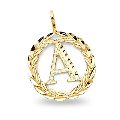 Letter 'A' Pendant Solid 14k Yellow Gold Initial Wreath Charm Polished Diamond Cut Fancy 20 x 20 (Polished Wreath Charm)