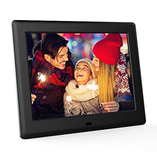 DBPOWER HD Digital Photo Frame IPS LCD Screen with Auto-Rotate/Calendar/Clock Function & Remote Control (8 inch)