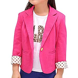 SODIAL(R) New Spring & Autumn Kids Suits Jacket for Girls Children Coat Kids Clothing Rose red 4T