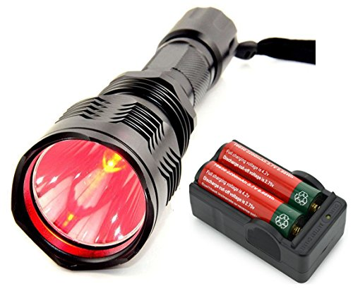 BESTSUN Brightest Waterproof Red Light Flashlight HS-802 1000 Lumens 350 Yard Long Range Red Hunting Light Coyote Hog Night Vision Red LED Flashlight Light Lamp Torch with Battery and Charger