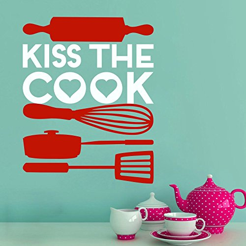 (MairGwall Kitchen Sign - Kiss the Cook with Kitchen Utensils Wall Decal Vinyl Sticker Decals Art Words (XL,White letters,Tomato red utensils) )