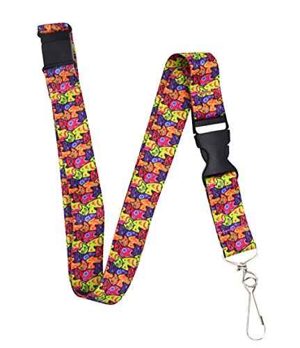 Colorful Cats Premium Lanyard with Breakaway Clasp and Snap Buckle by - Breakaway With Lanyard Clasp