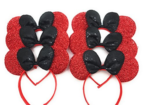MeeTHan Set of 6 &12 Mickey Minnie Mouse Christmas Birthday Costume Ears Headband: M9 (M4R-6)