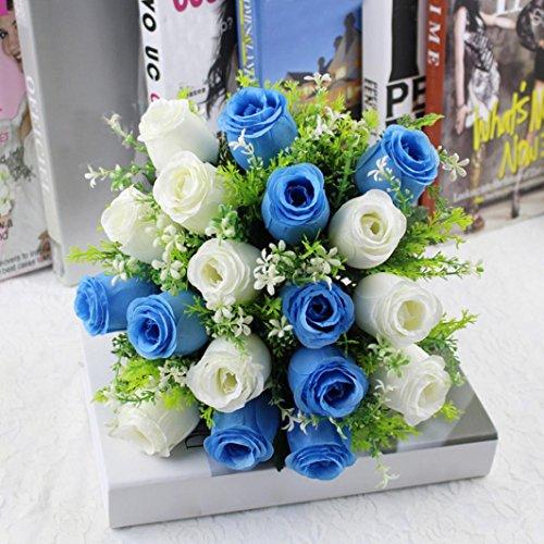 YJYdada 18Head Artificial Silk Roses Flowers Bridal Bouquet Rose Home Wedding Decor (A)