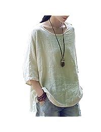 Aeneontrue Women's Linen Short Sleeve Tunic Tops T-shirt