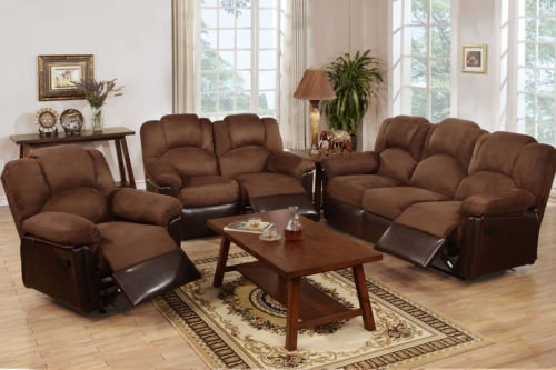 Poundex F6681/F6682/F6683 Brown Leatherette & Fabric Sofa Set With Recliners