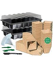 Bandeja para iniciar semillas, kits de macetas de turba para iniciar semillas, macetas biodegradables compostables para plantas de frutas vegetales, interior y exterior