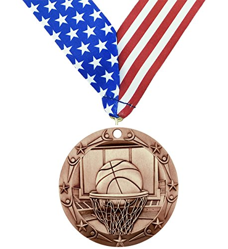 Decade Awards Bronze Basketball World Class Medal - Come with Exclusive Stars and Stripes American Flag V Neck Ribbon - 3 inch wide - Made of Metal - Tournament Champion (BRONZE) - Bronze Basketball