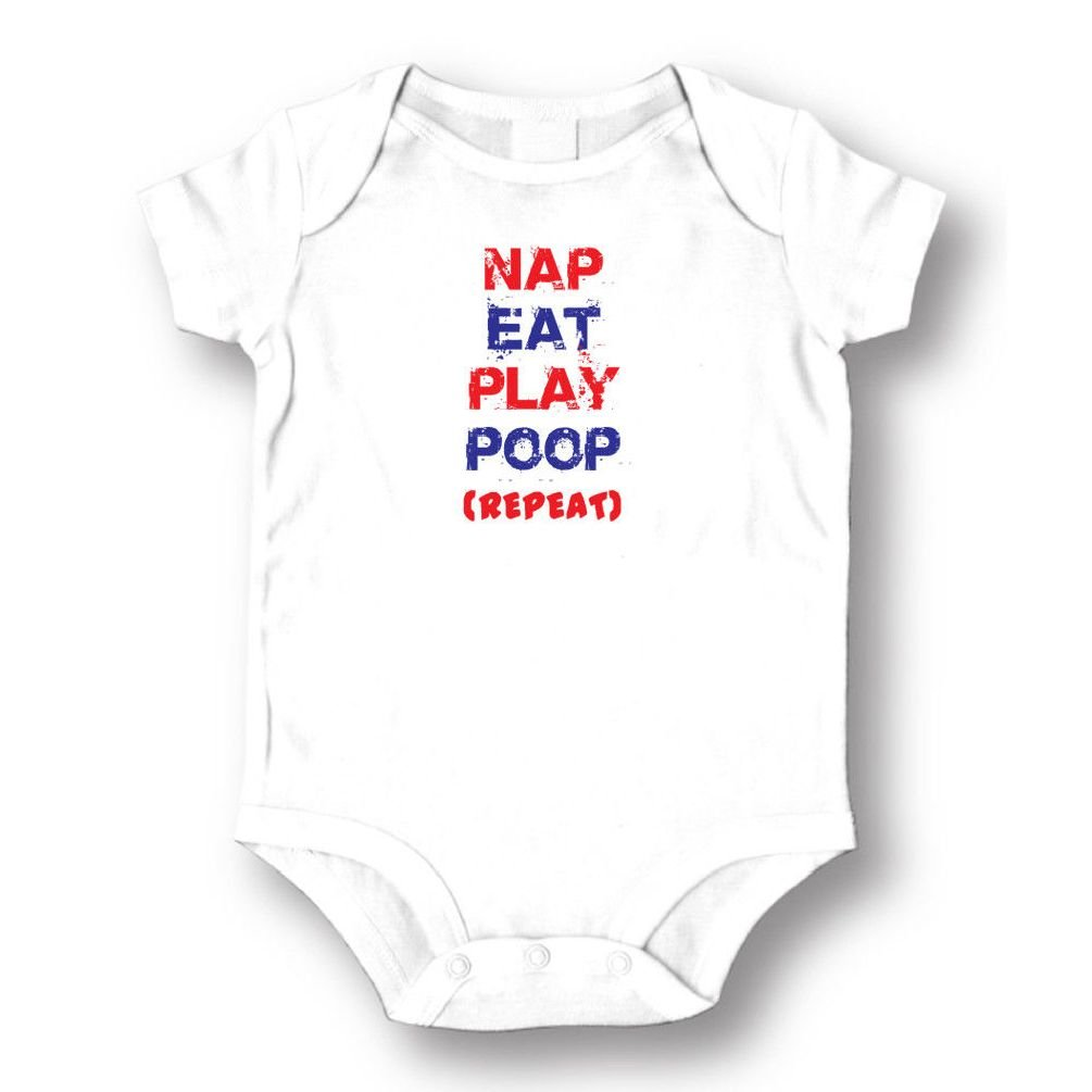 Dustin clothing series Nap Eat Play Poop (repeat) Baby Boys Girls Toddlers Funny Romper 0-24M