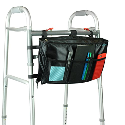 Walker Bag by Vive - Accessory Tote Caddy Provides Hands Free Storage - Walker Attachment Fits Most Wide and Narrow Styles - Elderly Senior & Disabled, (Black Dog Designer Handbag)