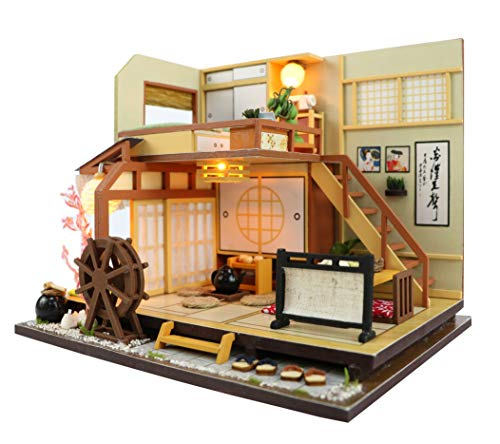 Cool Beans Boutique Miniature DIY Dollhouse Kit Wooden Japanese Home Forest Lodge with Dust Cover - Architecture Model kit (English Manual)