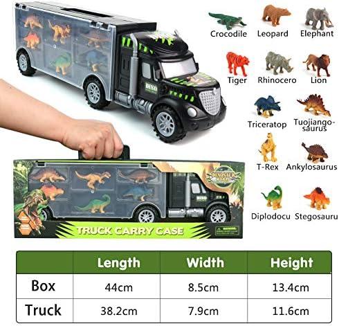 Dinosaurio del Juguete Camión de Transporte Transportador Coches con 12 Figuras de Juego de Dinosaurios de Dinosaurio Plásticos Educativo Juguete para Niños (Tamaño del camión: 39 cm * 8,5 cm * 12