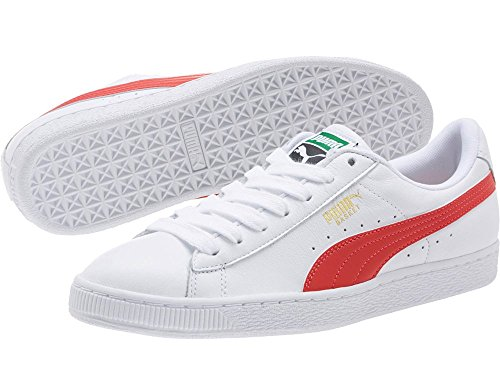 LFS White Classic Top Unisex Trainers Adults' Puma flame Low Basket Puma Scarlet White wtIfaqv