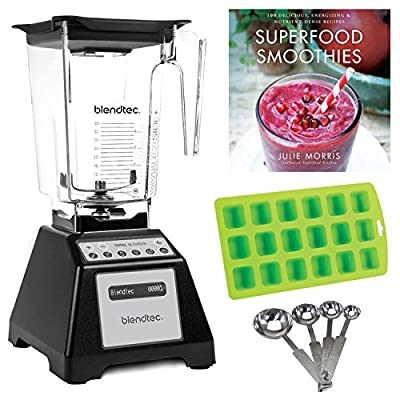 Blendtec TB-621-25 Total Blender Refurbished with WildSide Jar (Black) + Free Smoothie Recipes, Ice Cube Tray, and Measuring Spoons (Certified Refurbished)