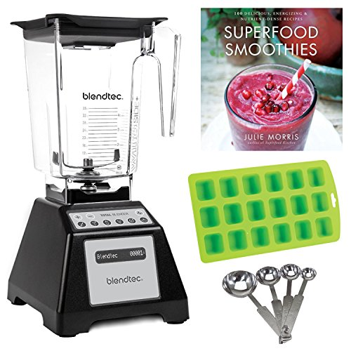 Blendtec TB-621-25 Total Blender Refurbished with WildSide Jar (Black) + Free Smoothie Recipes, Ice Cube Tray, and Measuring Spoons (Certified Refurbished) (Refurbished Tray)