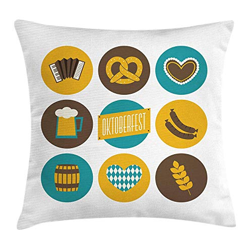 German Throw Pillow Cushion Cover, Bavarian Oktoberfest Themed Symbols Pretzel Beer and Accordion, Decorative Square Accent Pillow Case, 18 X 18 inches, Earth Yellow Teal and Brown