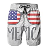 Leisue Merica Sunglasses Quick Dry Elastic Lace Boardshorts Beach Shorts Pants Swim Trunks Print Male Swimsuit with Pockets