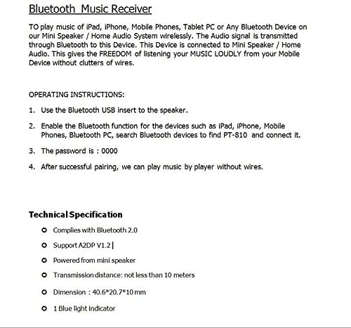 GRANDEY PT-810 USB Bluetooth Music Audio Stereo Receiver Fit for Car AUX in Home Mp3 Speaker iPhone Black