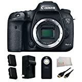 Canon EOS 7D Mark II Digital SLR Camera (Body Only) Accessory Kit. Includes 2 Extended Life Replacement Batteries(LP-E6N) + Charger + Mini HDMI Cable + Microfiber Cleaning Cloth