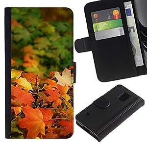 iKiki Tech / Cartera Funda Carcasa - Fall Sun Golden Brown Autumn Maple - Samsung Galaxy S5 SM-G900