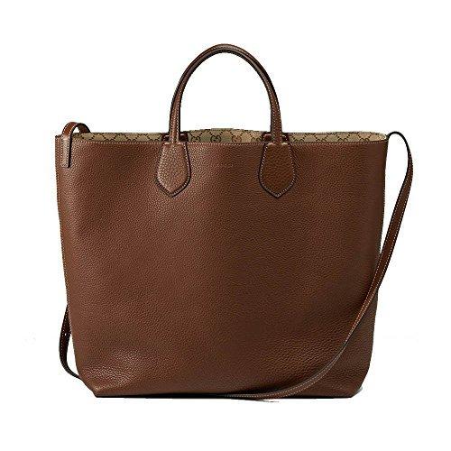 ble Leather and Original GG Canvas Tote Shoulder Bag 370823 (Gucci Canvas Shoulder Bag)
