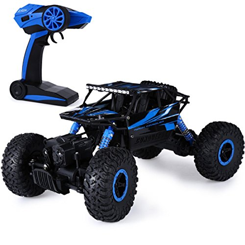 Megadream 4WD Remote Control Car, Distianert 1/18 Scale Electric Racing RC Car Monster Truck RTR Desert Buggy with 2.4GHz Radio Remote Control and Rechargeable Battery for Off Road and On Road – Blue (5 Electronics Alarms Remote Starters)