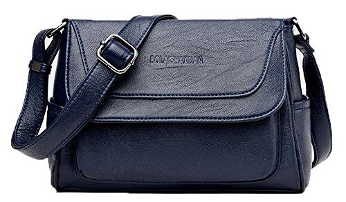 Bleu Des sacs Sacs Zippers Décontractée Pu bandoulière FBUFBD180898 Femme à Mode Cuir AllhqFashion qBH70