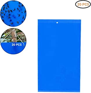 Ysoom Blue Boards Fly Traps Pack of 20 Insect Fly Traps Catcher Fly Catcher Sticker Blue Sticker Against Mosquitoes Includes 20 Cable Ties 20 x 15 cm