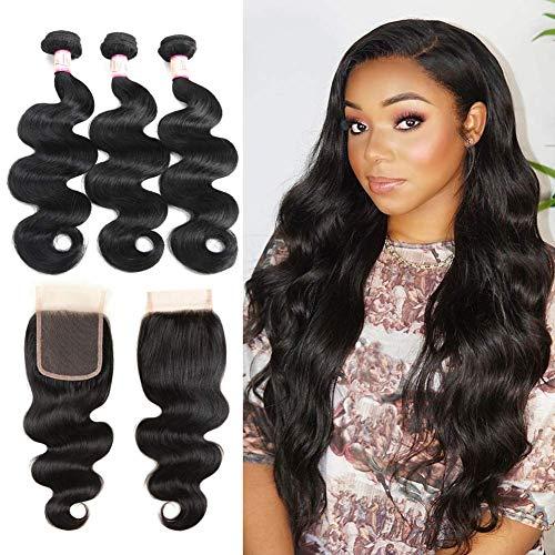 Body Wave Bundles with Closure, Ms Taj Peruvian 10A Human Hair Bundles with Closure Free Part Unprocessed Virgin Human Hair Extension Natural Color (14 16 18+12)