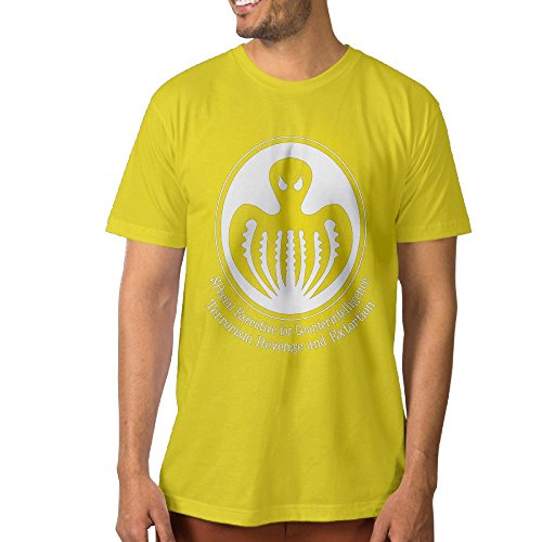 Particular Men's Tees Mystical Ghost Octopus Image S Yellow ()
