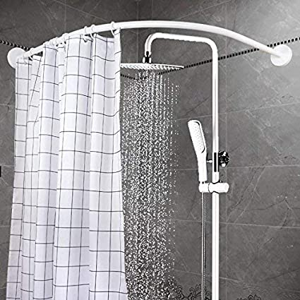 YOLOPLUS Curved Shower Rod Wall Mount Bathroom Curtain Covers Area Of 35