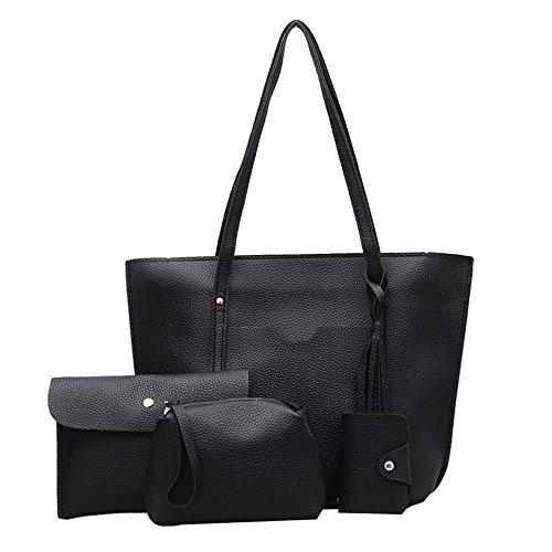 4 Teile Set Damen Umhängetasche mit Quaste Vintage Leder Handtasche Citytasche Set+ Crossbody Messenger Tasche + Brieftasche Cardbags + Karte Paket (Blau) Schwarz t5mcnVhoY